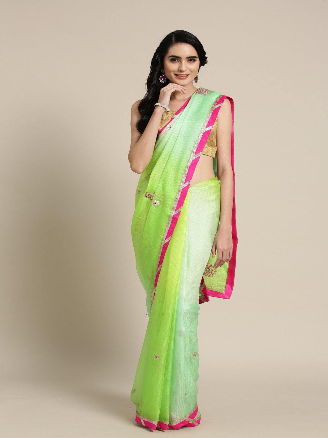 Green Shaded Kota Silk Saree - The Wedding Brigade
