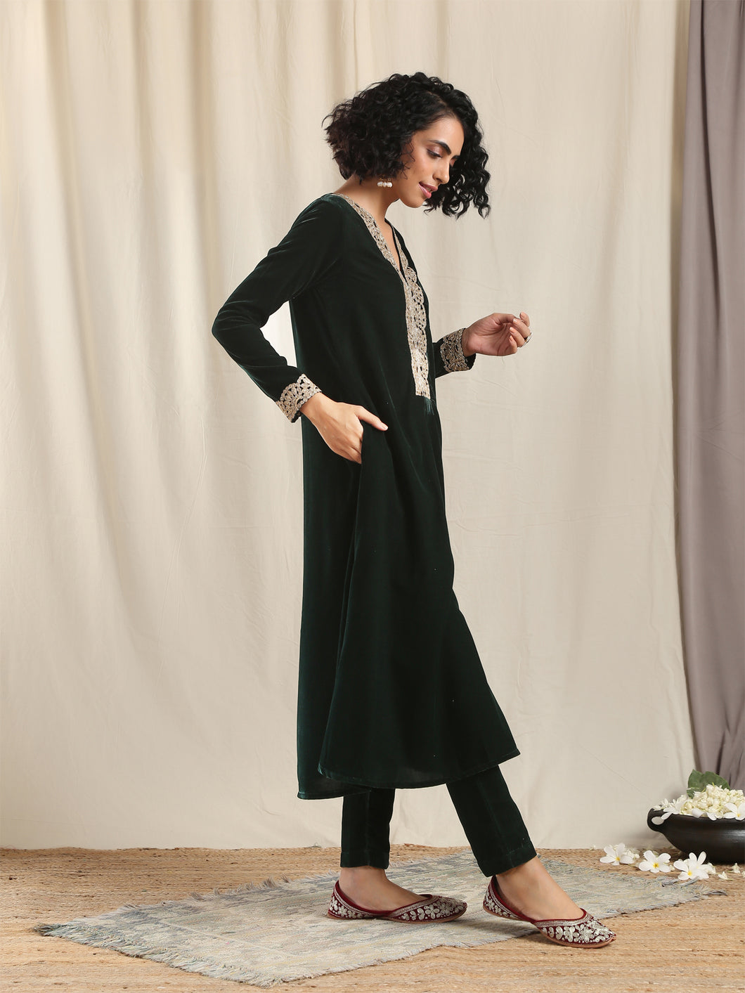 Green Solid Flared Kurta