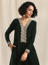 Load image into Gallery viewer, Green Solid Flared Kurta