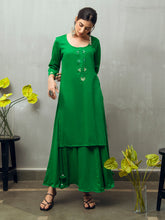 Load image into Gallery viewer, Green Solid Kurta Skirt Set