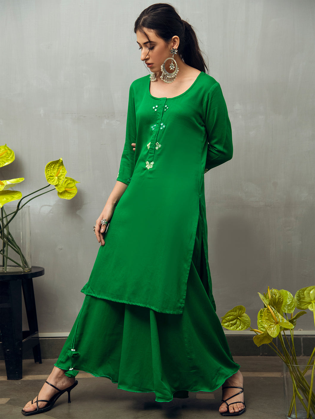 Green Solid Kurta Skirt Set