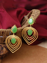 Load image into Gallery viewer, Green Stoned Earrings