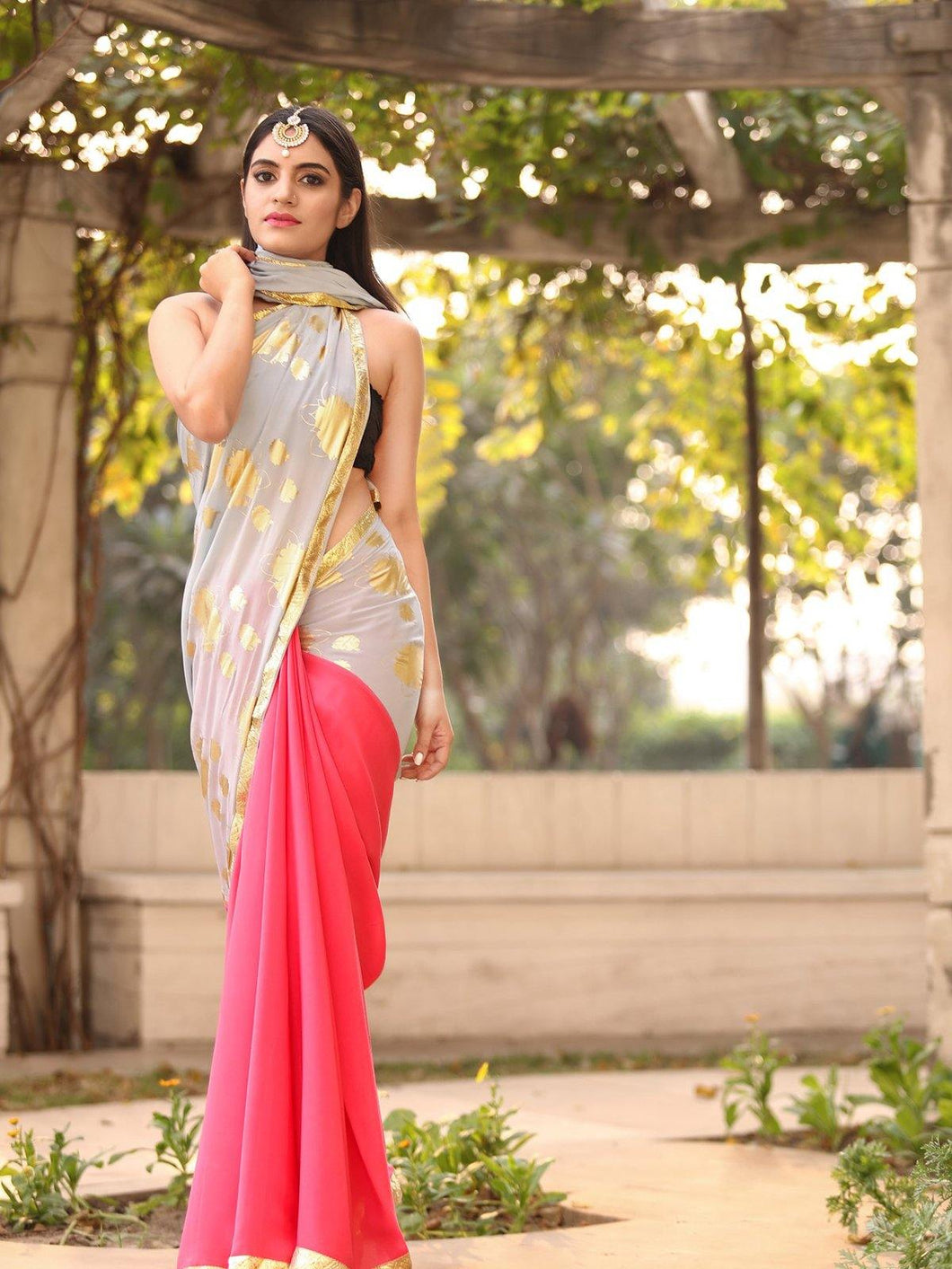 Grey and Pink Saree with Grey Unstitched Blouse