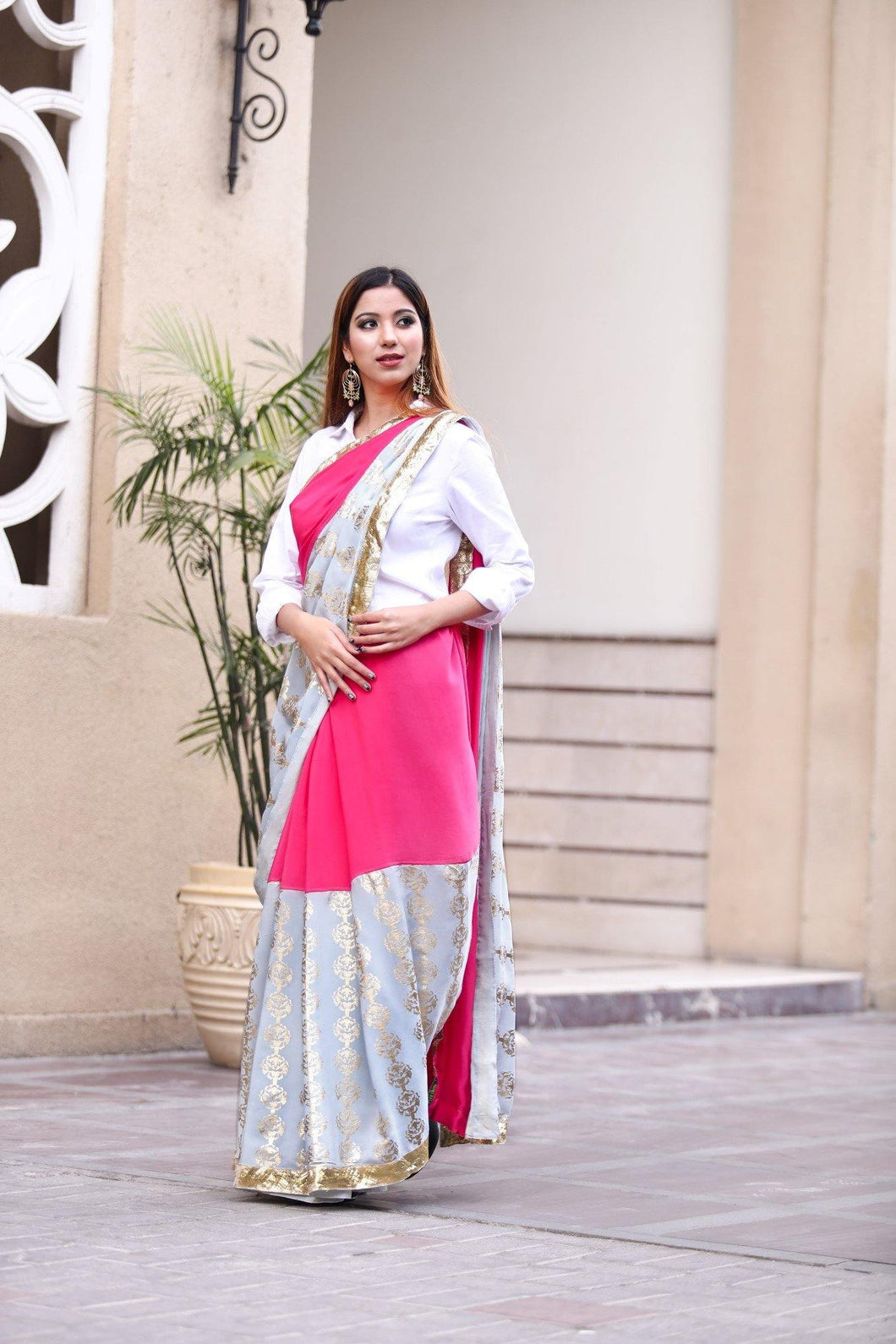 Grey and Pink Saree with Unstitched Blouse - The Wedding Brigade