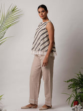 Load image into Gallery viewer, Grey and White Striped Top with Lace