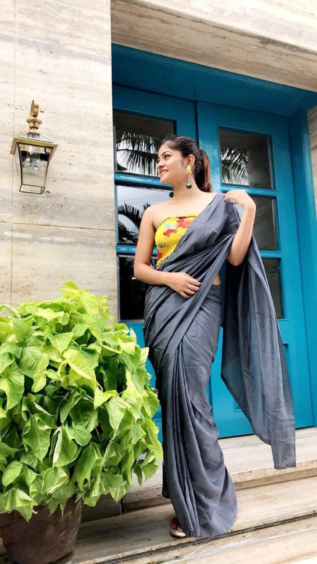 Grey Crepe Saree with Yellow Print Unstitched Blouse - The Wedding Brigade