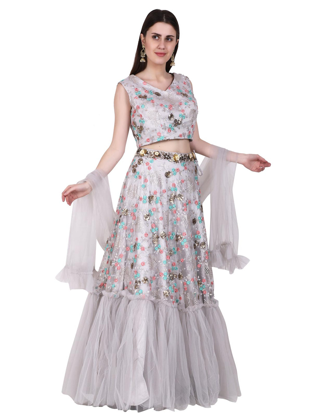 Grey Floral Embroidered Lehenga Set