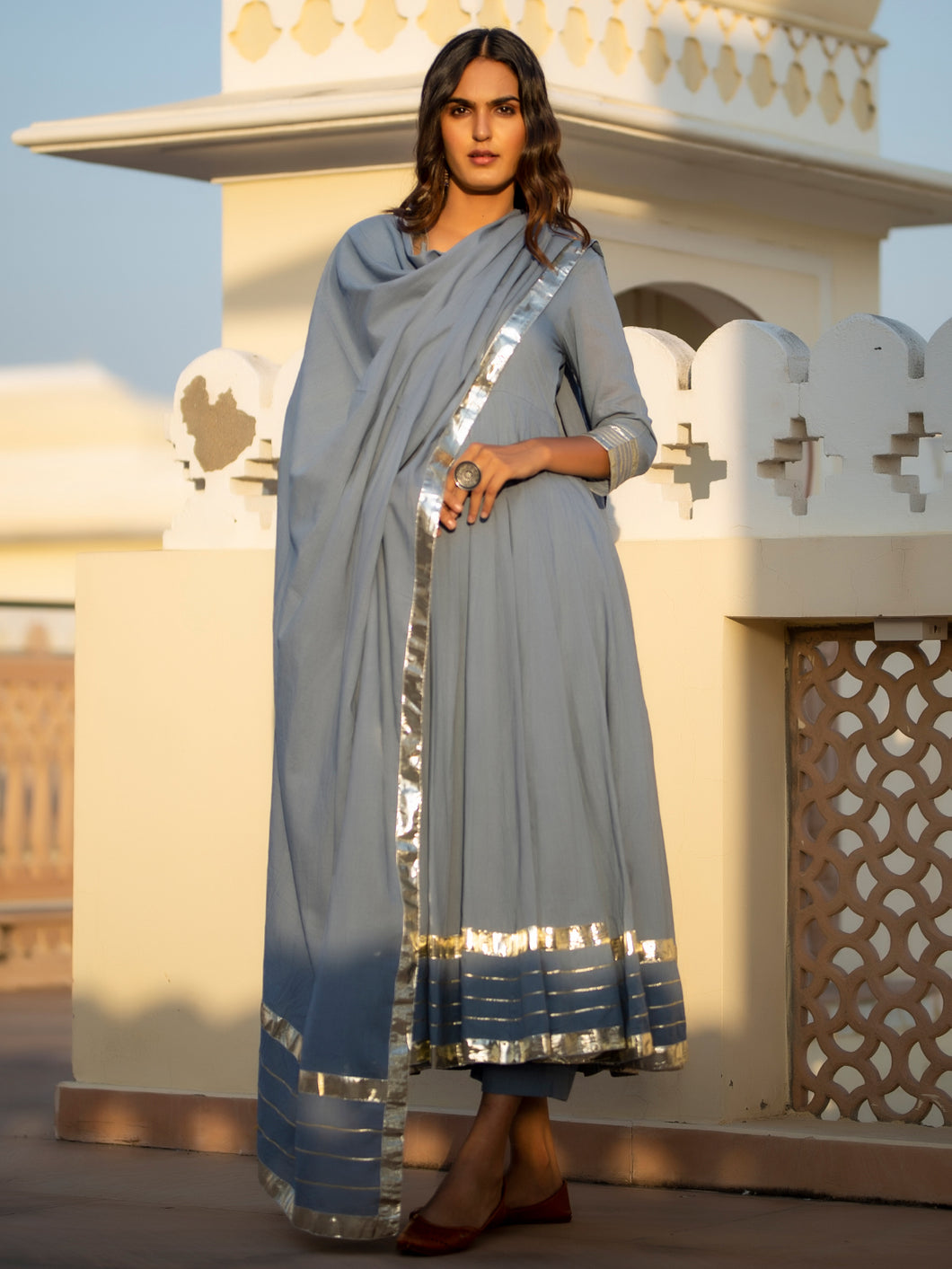 Grey Gota Patti Anarkali Set