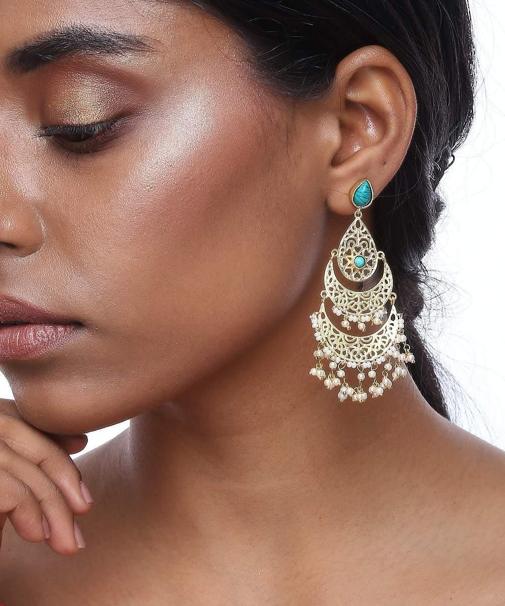Half Chaand Jaali Earrings