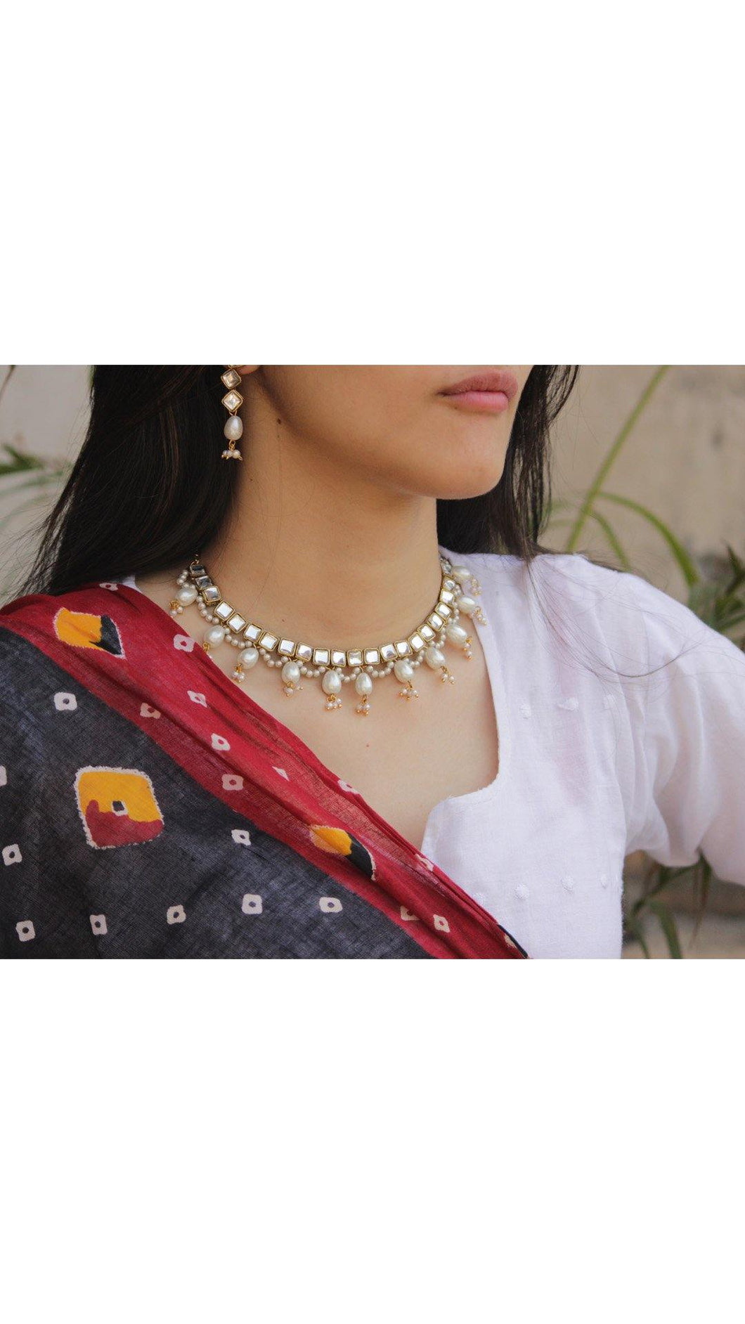 Kundan and Pearl Drop Necklace