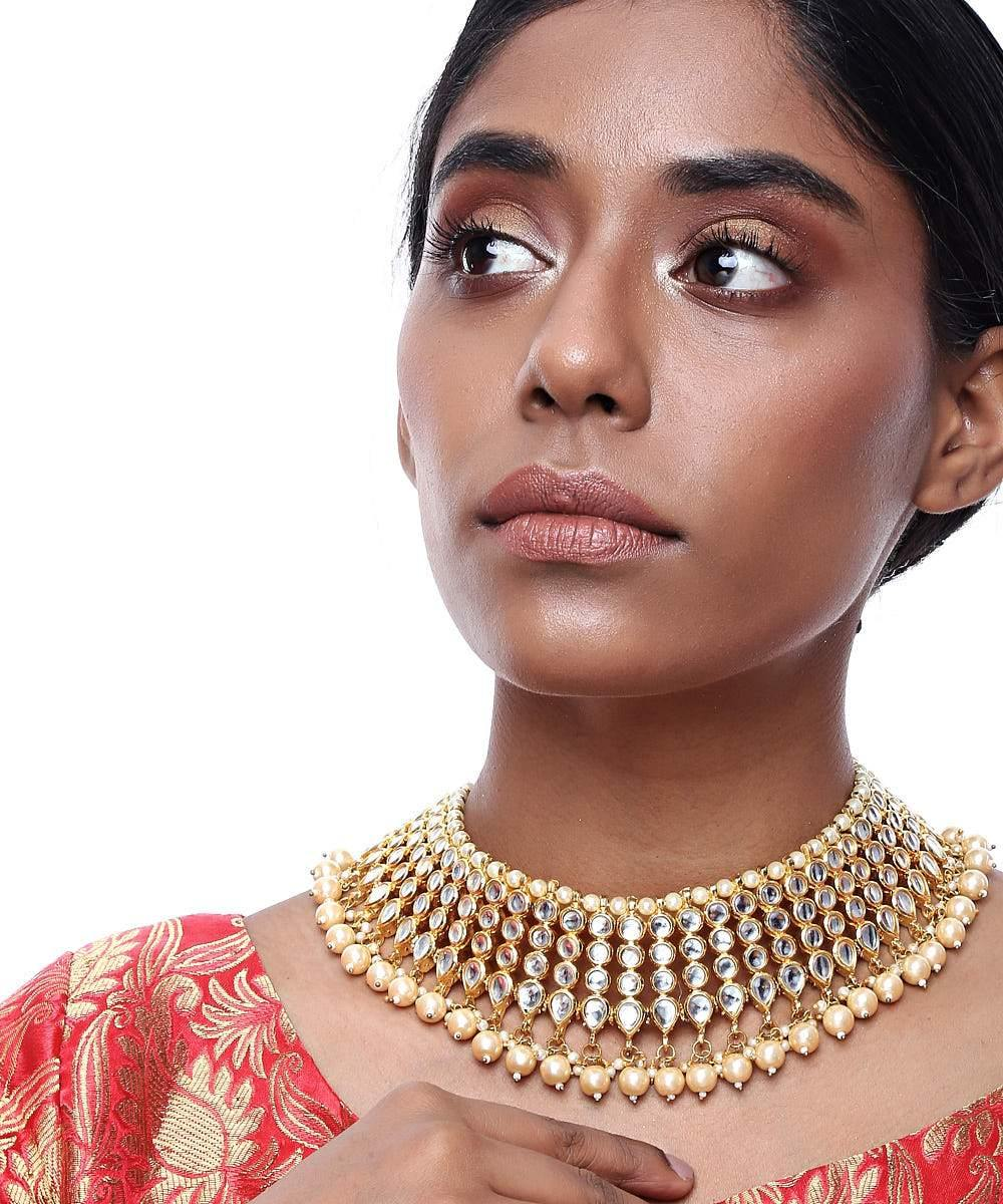 Kundan and Pearl Drop Shape Necklace - The Wedding Brigade