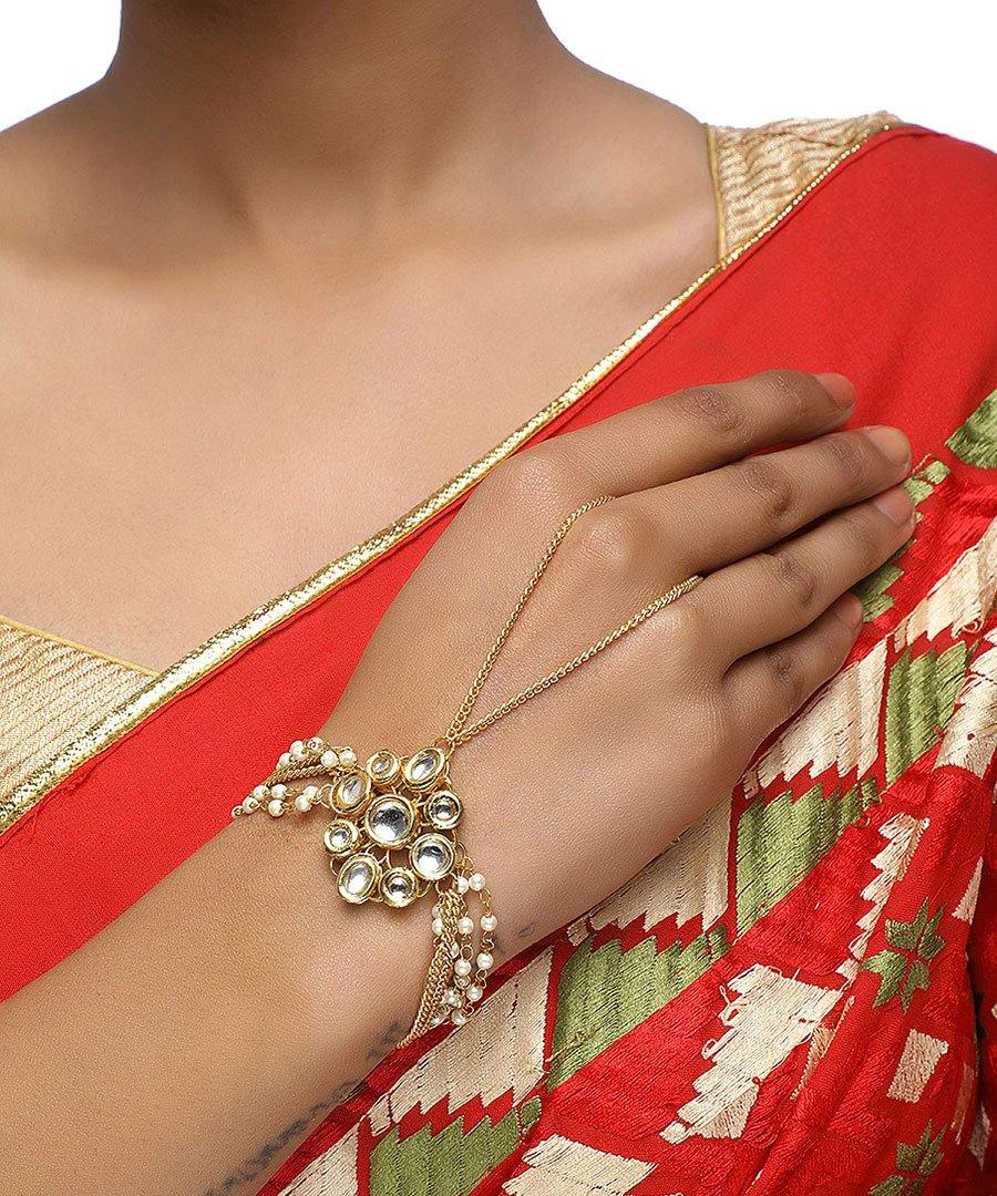 Kundan Flower Bracelet - The Wedding Brigade