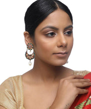 Load image into Gallery viewer, Kundan Flower Long Earrings