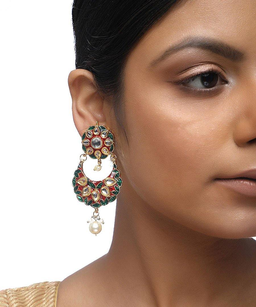 Kundan Flower Long Earrings
