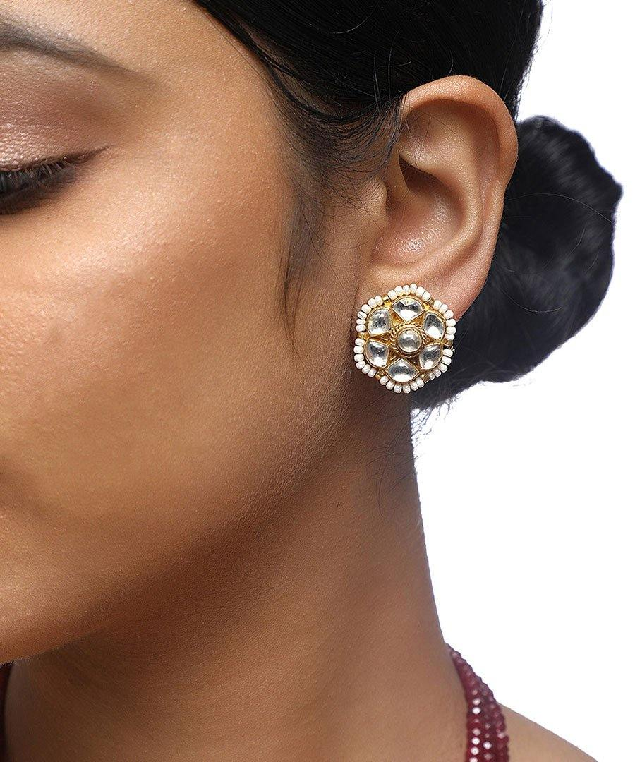 Kundan Flower Studs - The Wedding Brigade