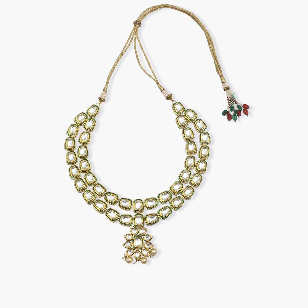 Kundan Handcrafted Meenakari Necklace - The Wedding Brigade