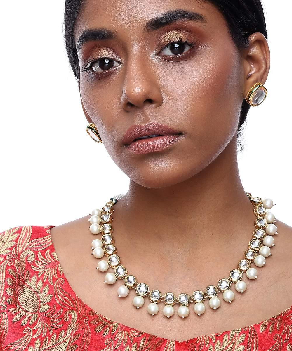 Kundan Necklace with Studs - The Wedding Brigade