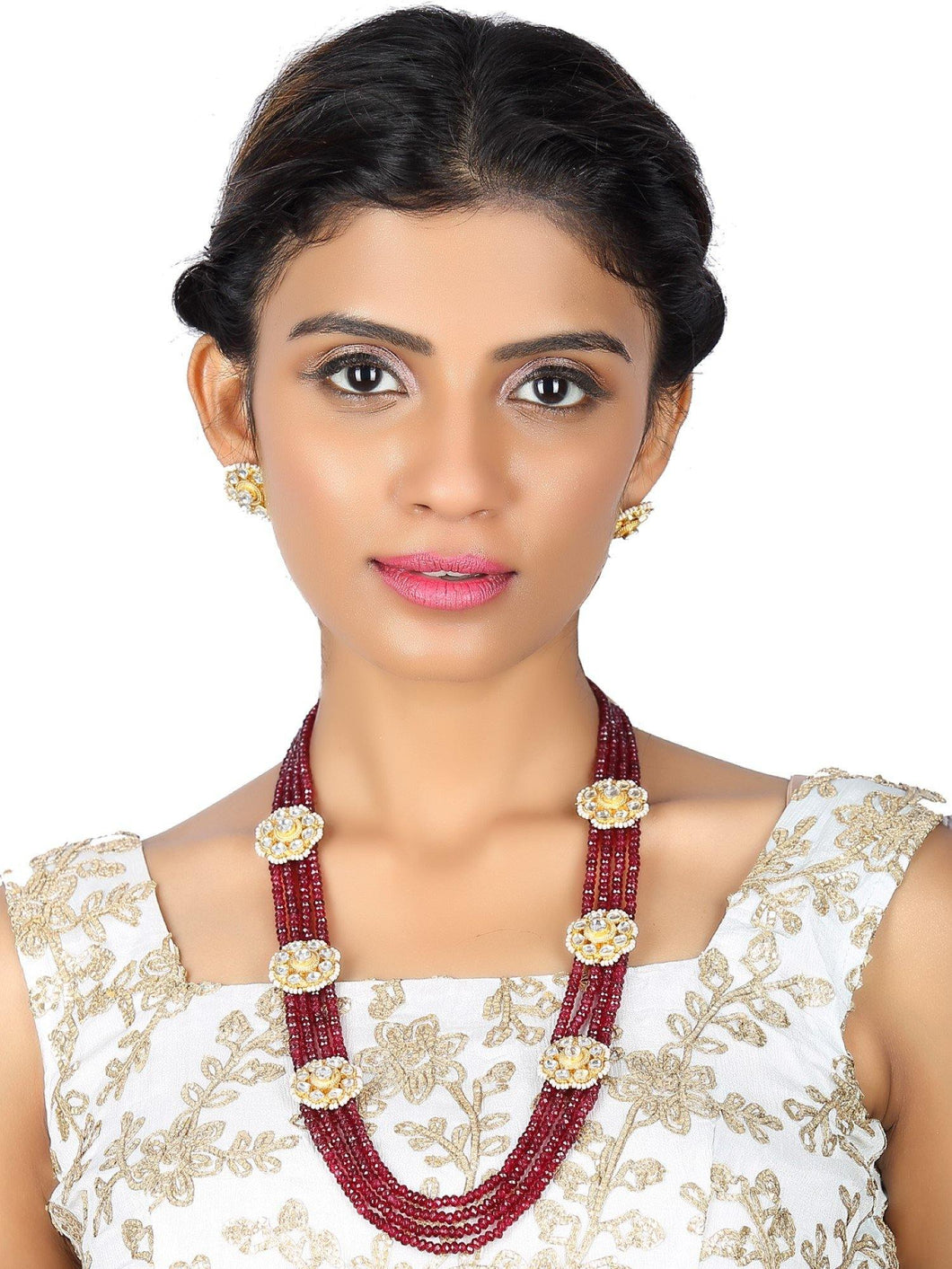 Kundan Side Clip Maroon Stone Necklace