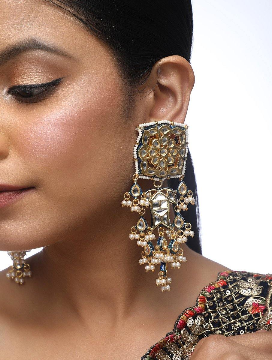 Kundan Square Earrings