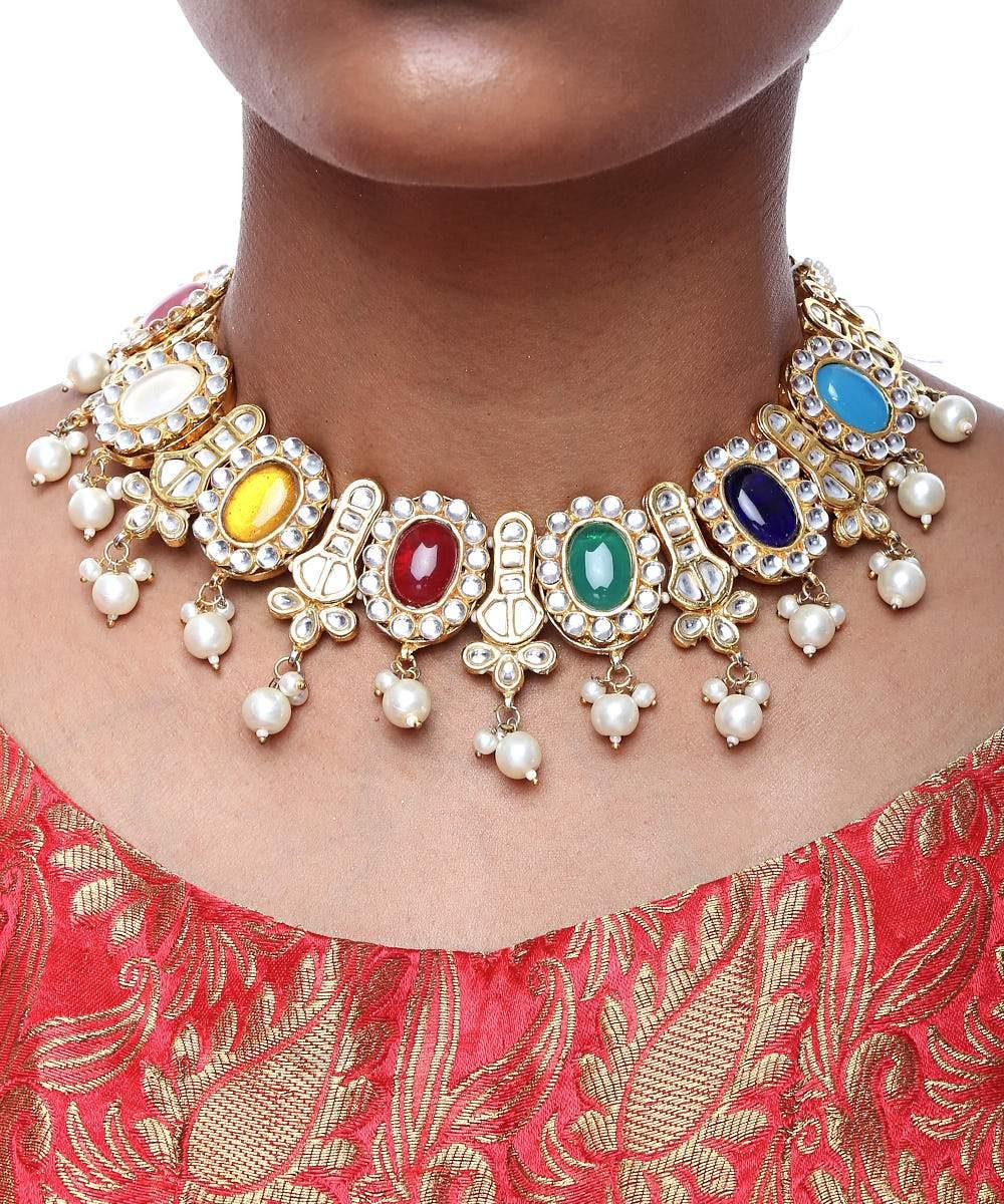 Kundan Stone Necklace and Earrings Set