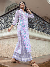 Load image into Gallery viewer, Lavender Floral Kurta Pant Set