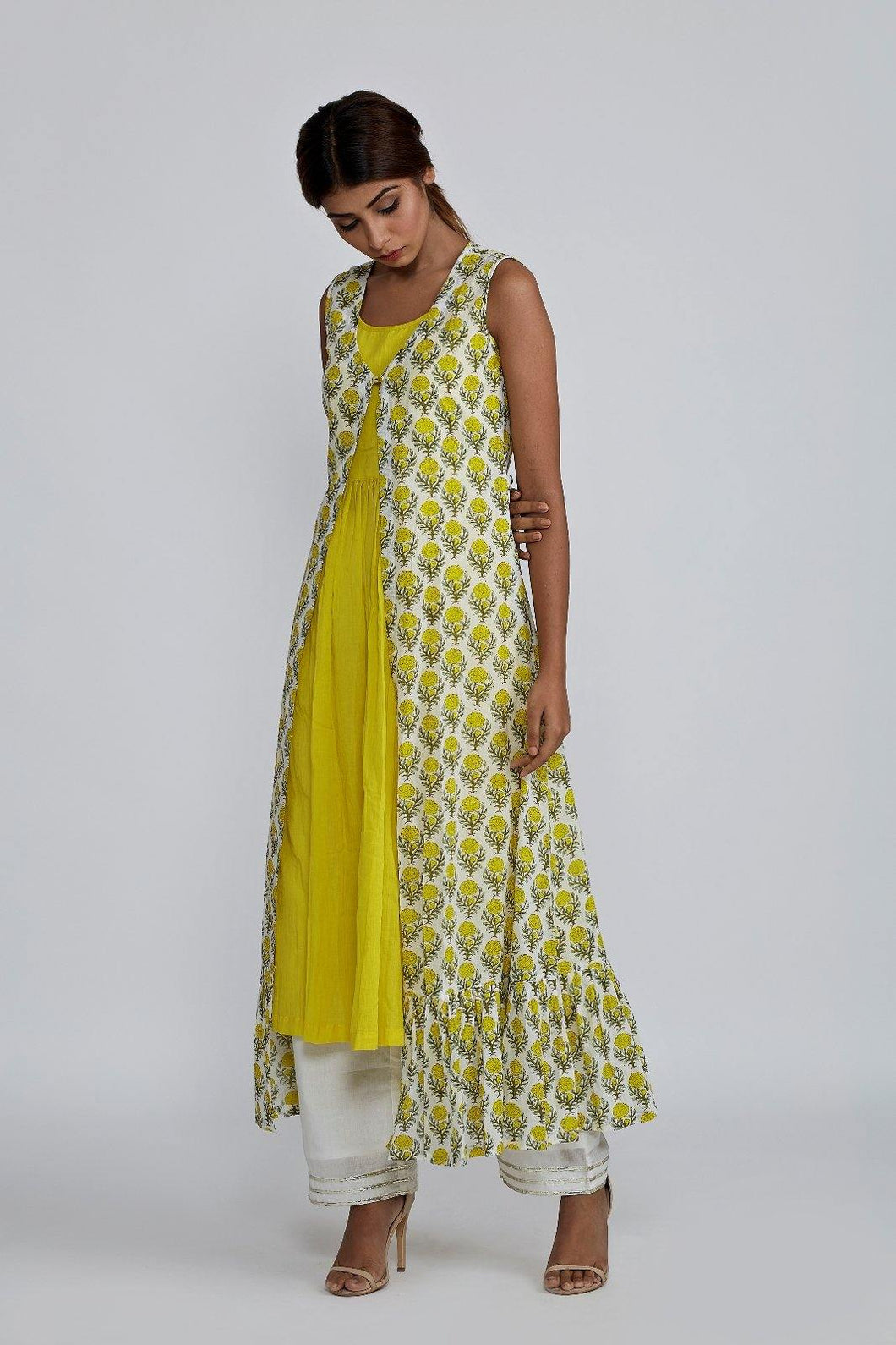 Lemon Gathered Kurta with Block Printed Cover-up Jacket
