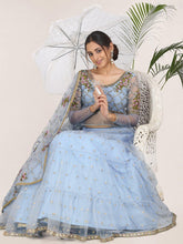 Load image into Gallery viewer, Light Blue Semi-Stitched Zari Embroidered Lehenga Choli Set