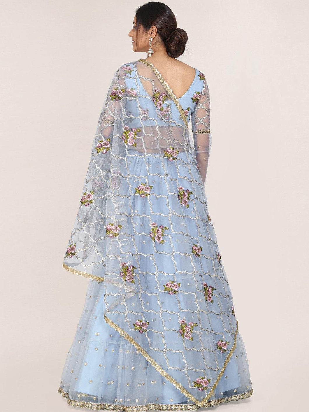 Light Blue Semi-Stitched Zari Embroidered Lehenga Choli Set
