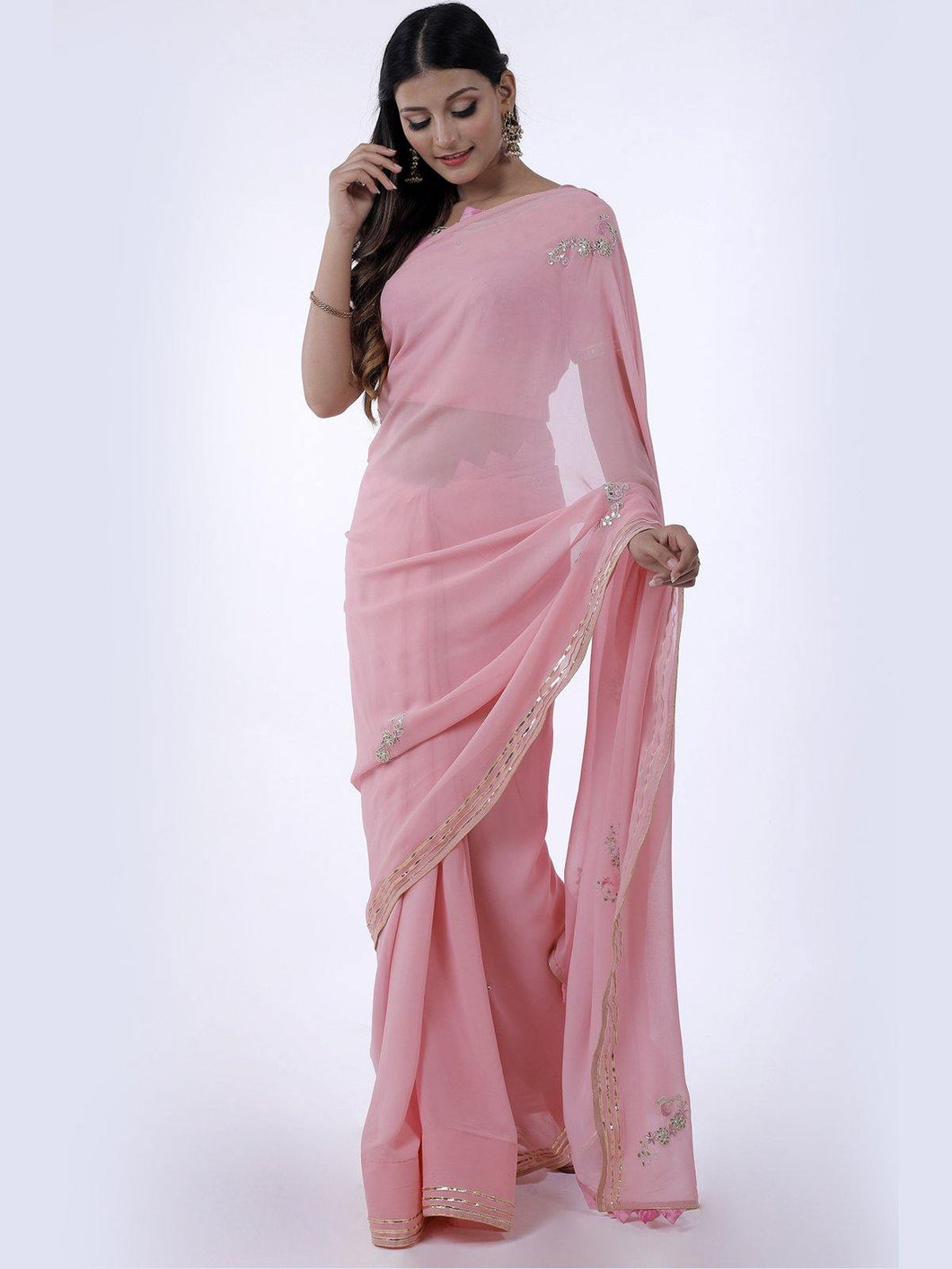 Light Pink Gota Patti Saree with Shibori Unstitched Blouse