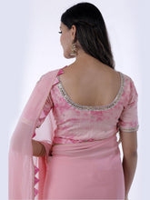 Load image into Gallery viewer, Light Pink Gota Patti Saree with Shibori Unstitched Blouse