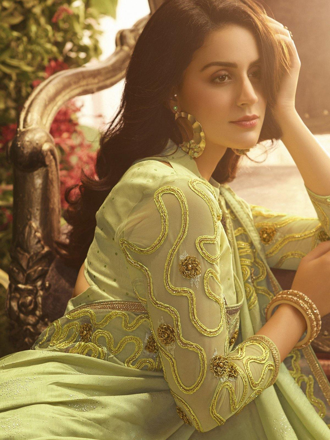 Lime Green Embellished Saree