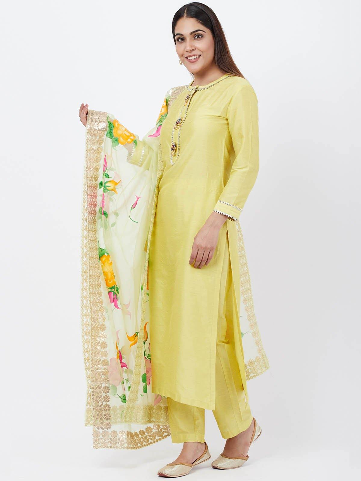 Lime Green Gota Patti Kurta Pant Set - The Wedding Brigade