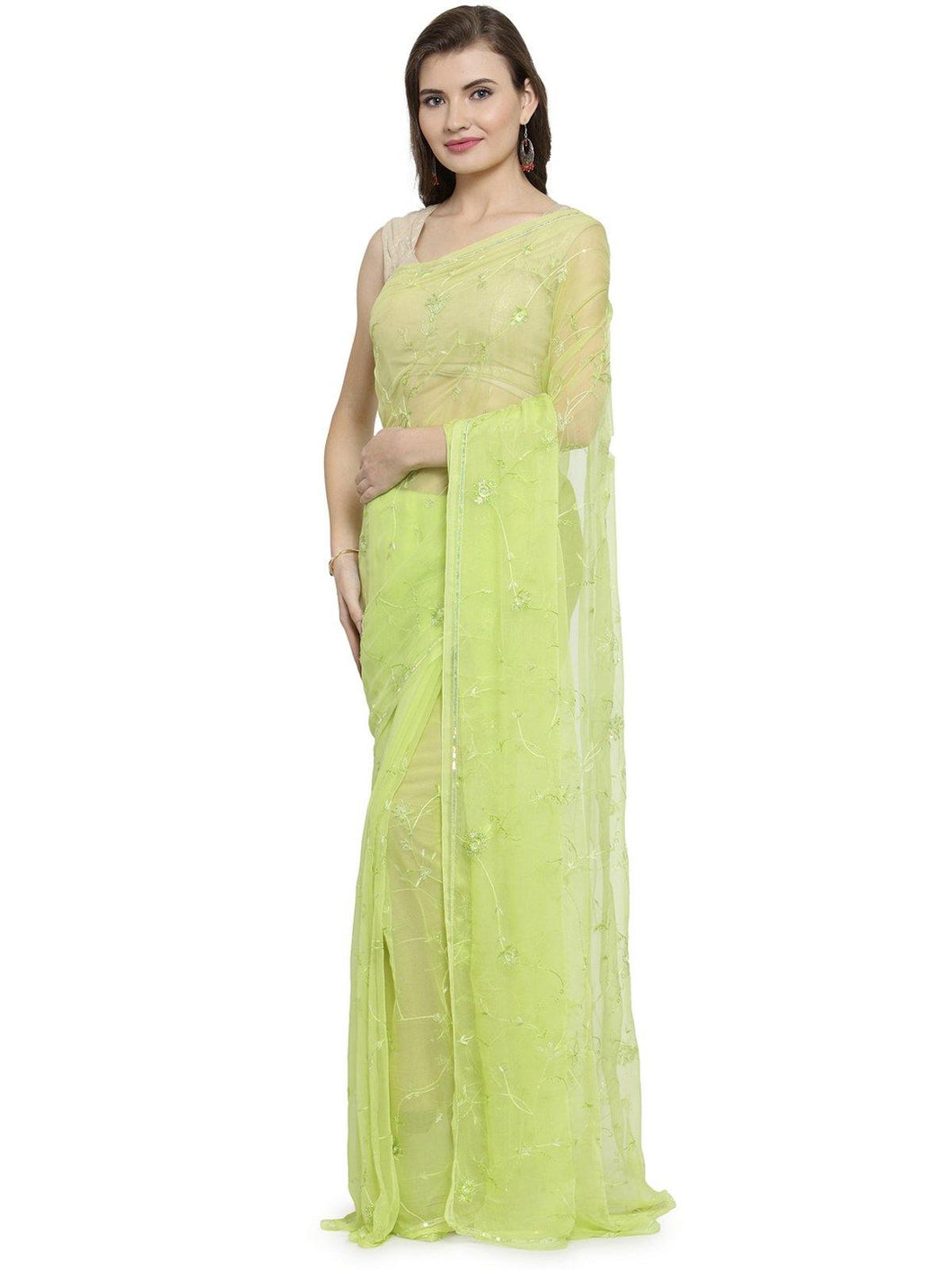 Lime Green Sequins Saree