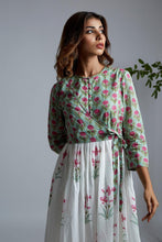 Load image into Gallery viewer, Magenta Lily Block Printed Wrap Kurta with Pants