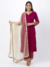 Load image into Gallery viewer, Magenta Sequined Kurta Palazzo Set