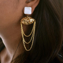 Load image into Gallery viewer, Marble with Mesh & Chain Earrings