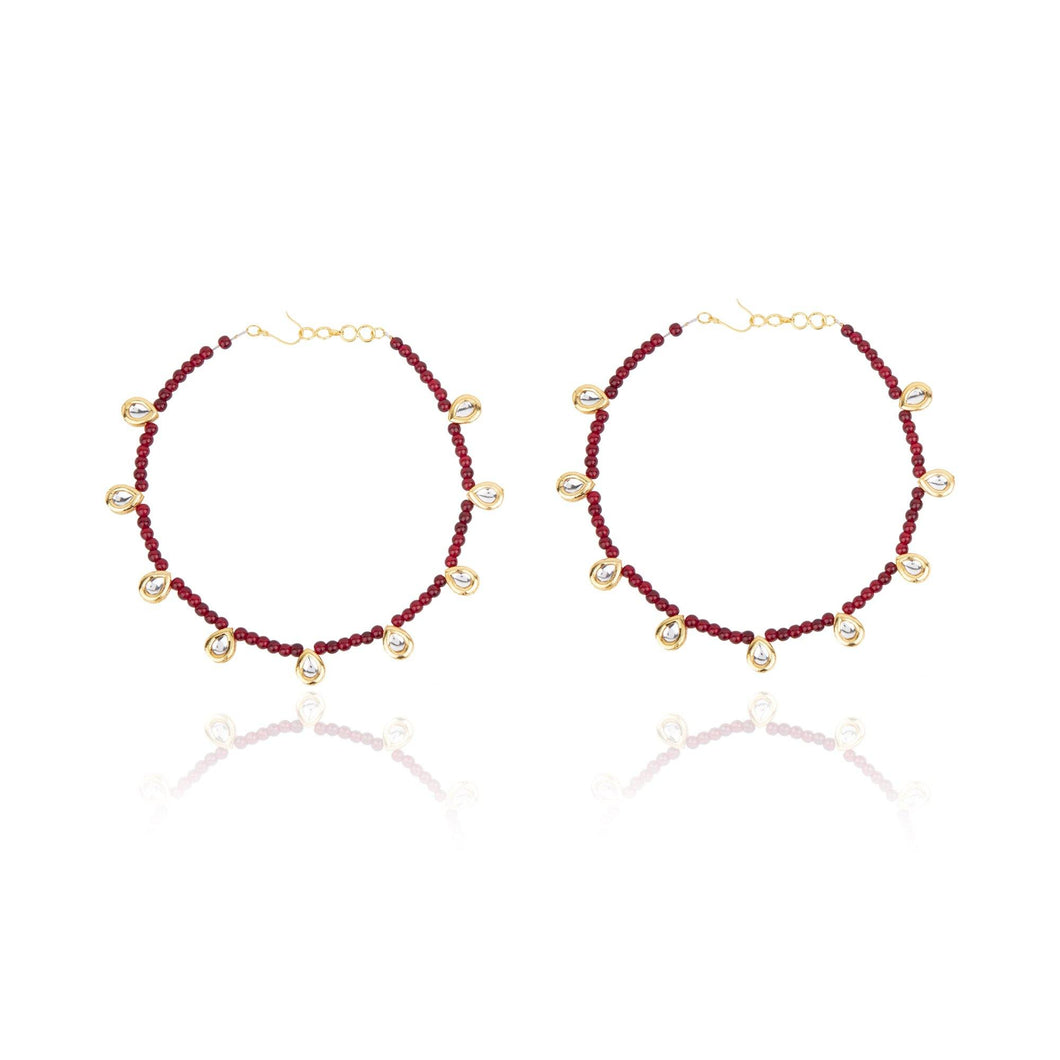 Maroon Beaded Kundan Anklet - The Wedding Brigade