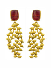 Load image into Gallery viewer, Maroon Leaf Earrings