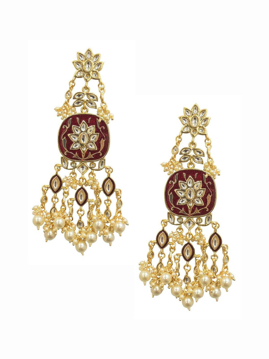Maroon Pearl Floral Earrings - The Wedding Brigade
