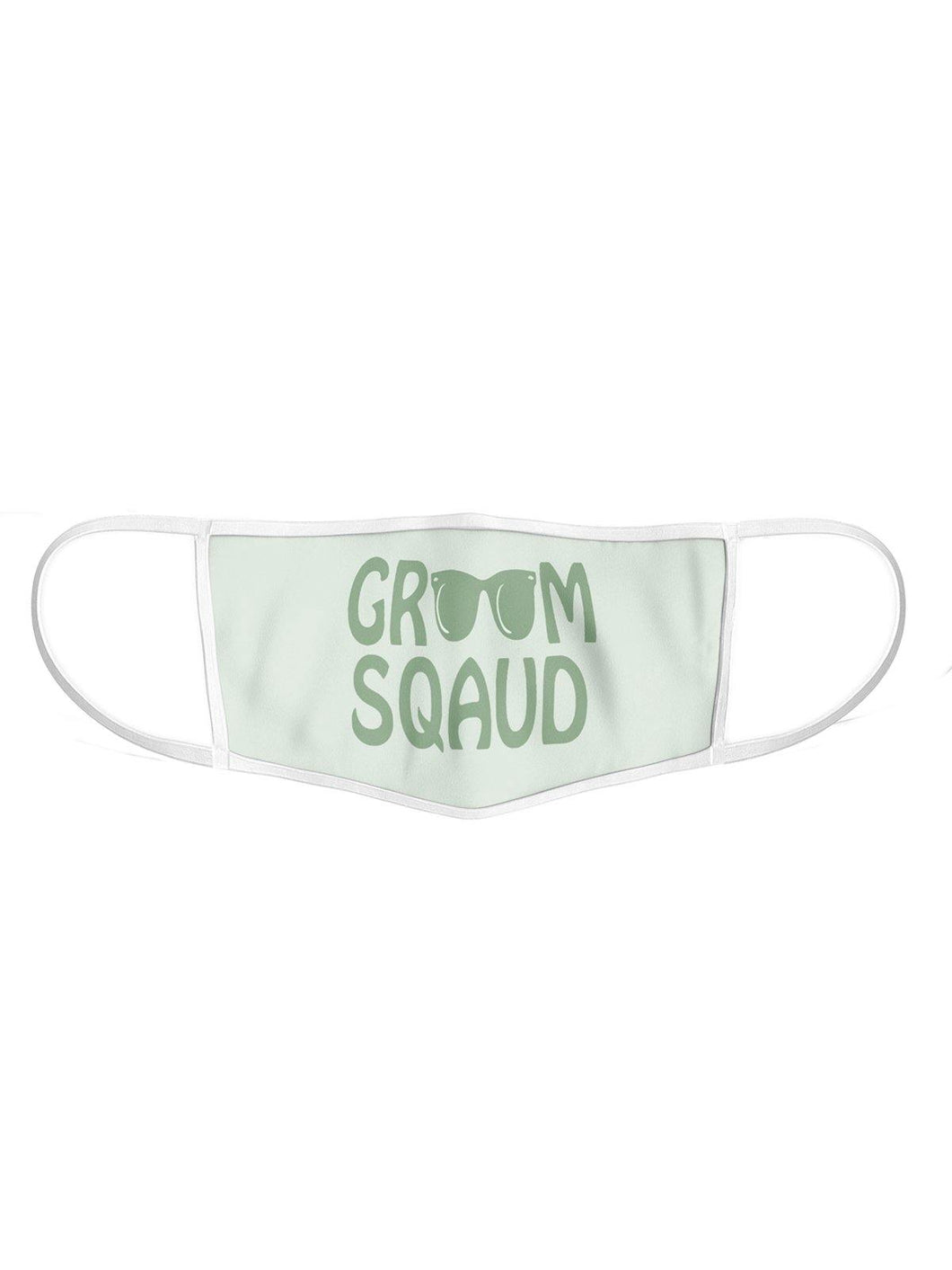 Set of 5 - Green & White Printed Groom Squad Masks