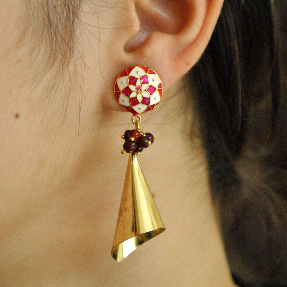 Meenakari Cone Earrings - The Wedding Brigade