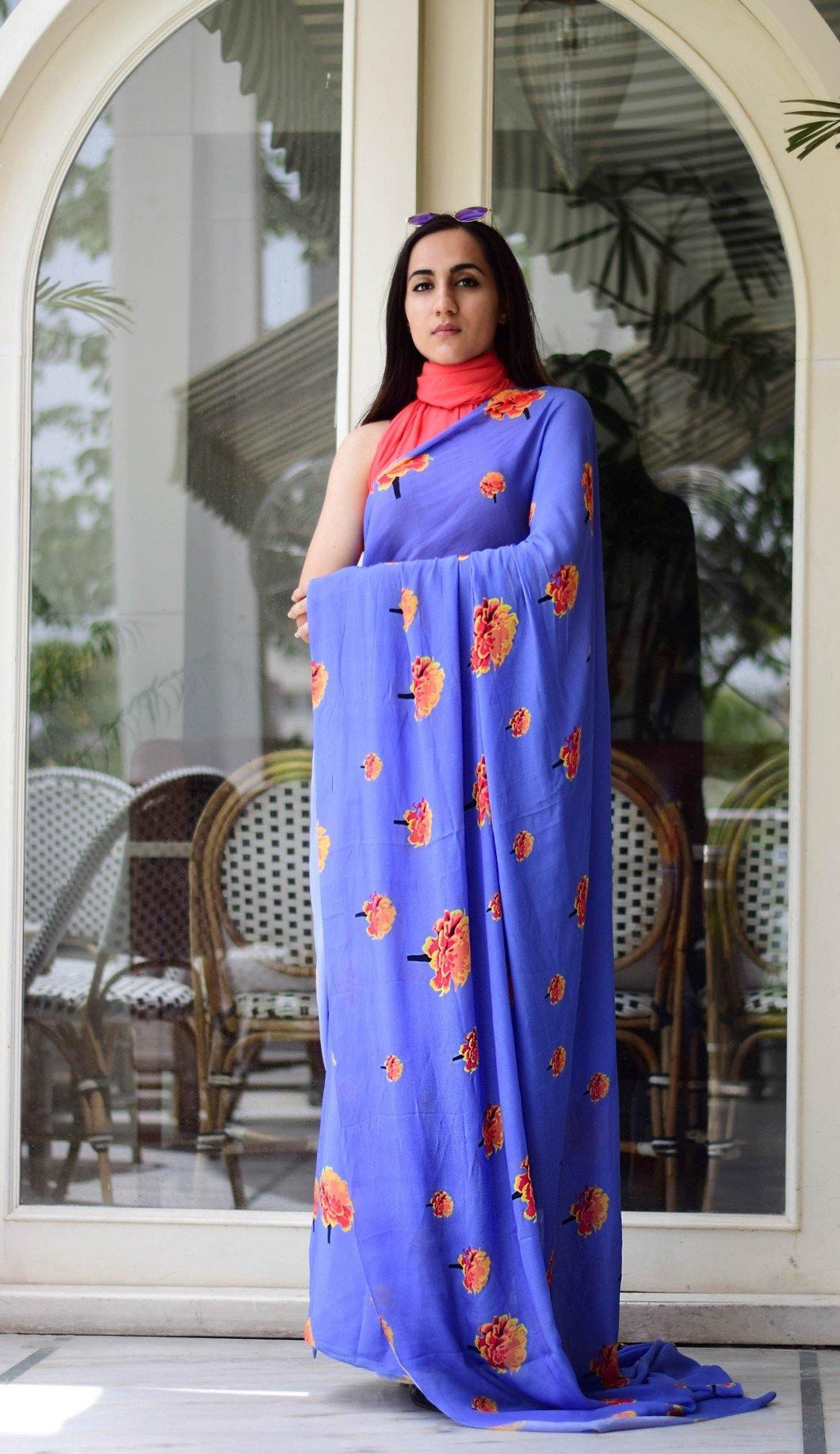Moon Blue Saree with Coral Unstitched Blouse