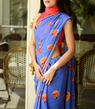 Load image into Gallery viewer, Moon Blue Saree with Coral Unstitched Blouse