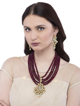 Load image into Gallery viewer, Multi Layered Maroon Necklace Set