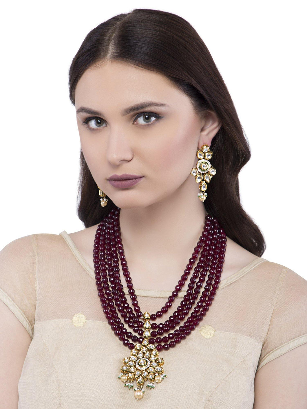 Multi Layered Maroon Necklace Set - The Wedding Brigade