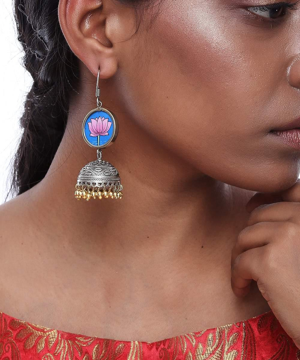 Multicolor Silver Plated Lotus Jhumki