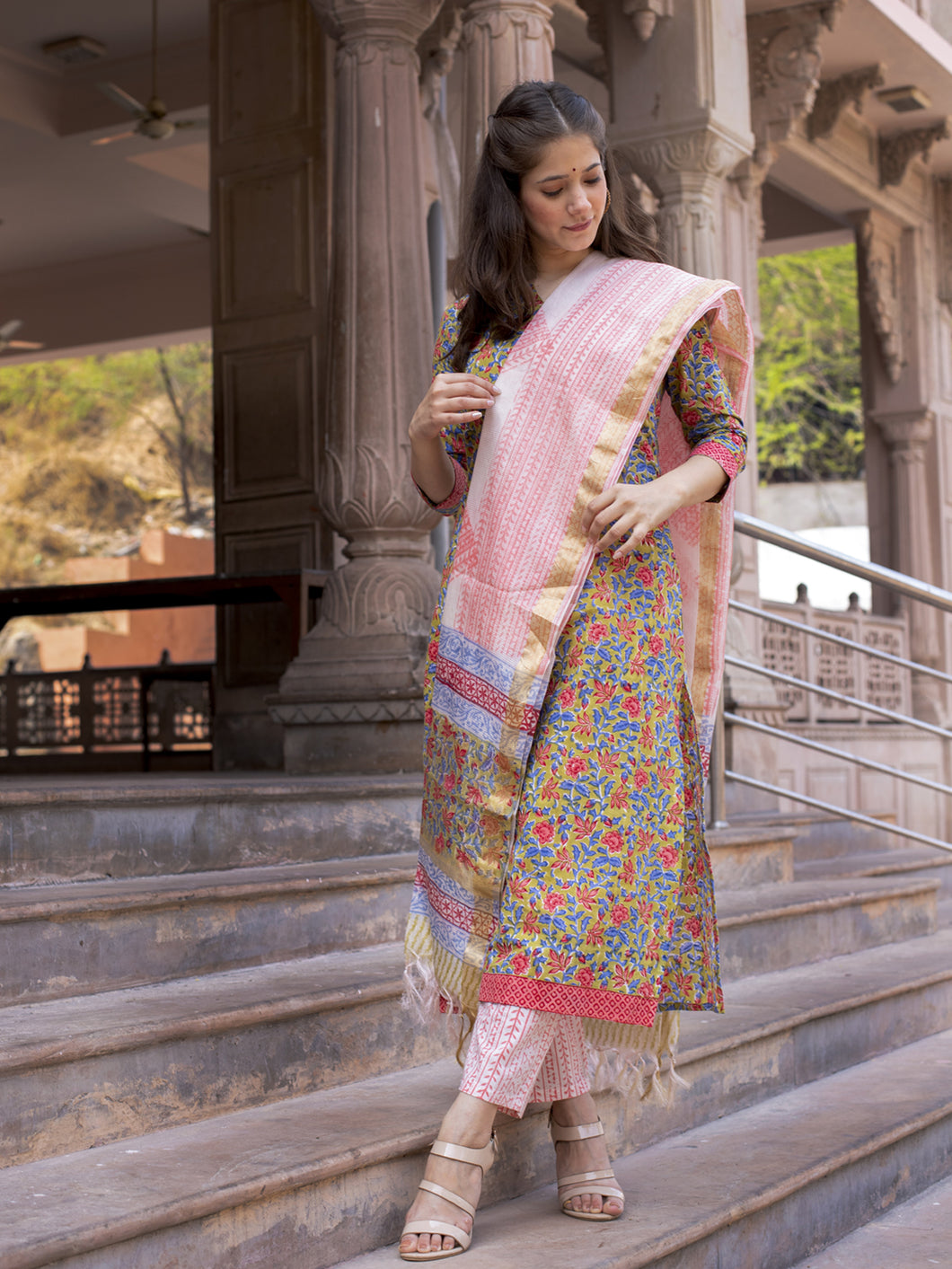 Multicolour Floral Printed Kurta Pant Set
