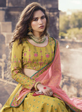 Load image into Gallery viewer, Mustard Embroidered Semi-Stitched Lehenga Set - The Wedding Brigade