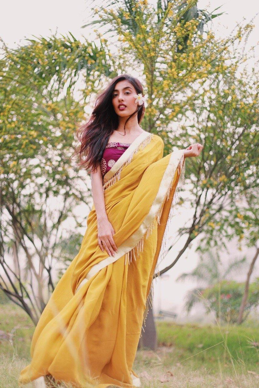 Mustard Saree with Plum Foil Print Unstitched Blouse