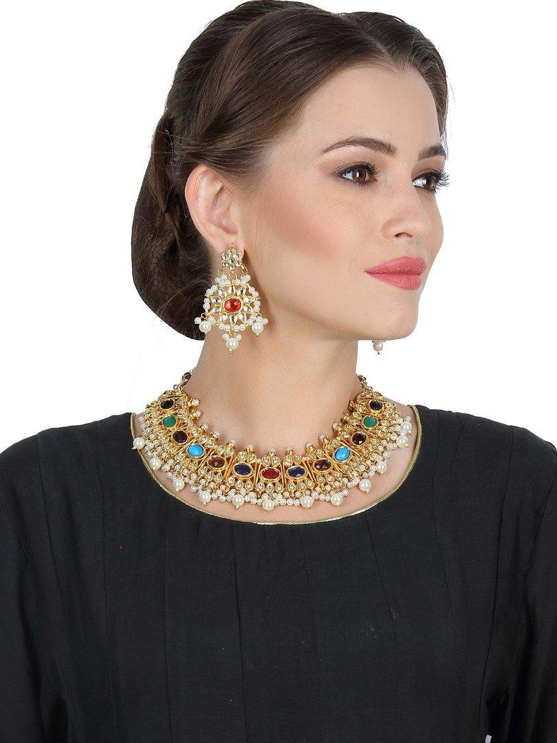 Navratan & Kundan Necklace Set